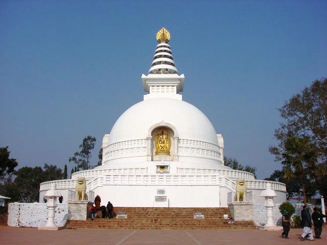 Rajgir Stupa on top of Vulture's Peak (photo by Anuradha Goyal)